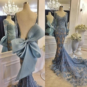 blue prom dresses 2021 lace crew neckline mermaid long sleeve sparkly shinning court train evening dresses gowns
