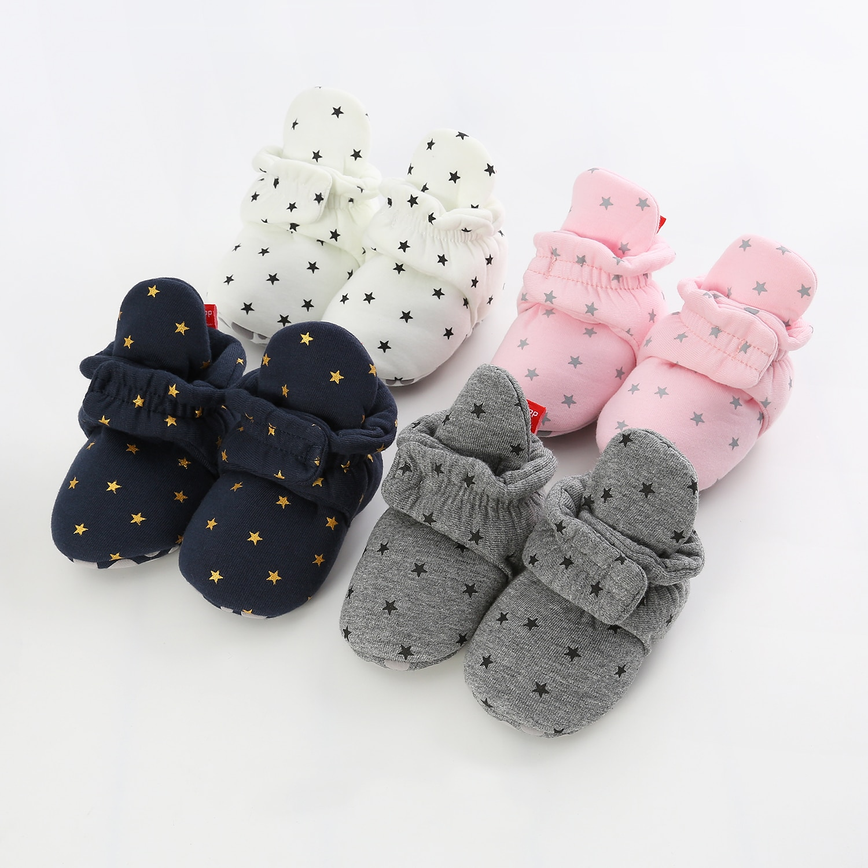 Meias Bebê recém-nascido Sapatos Da Menina do Menino Estrela Criança Primeira Walkers Sapatinho de Algodão Macio