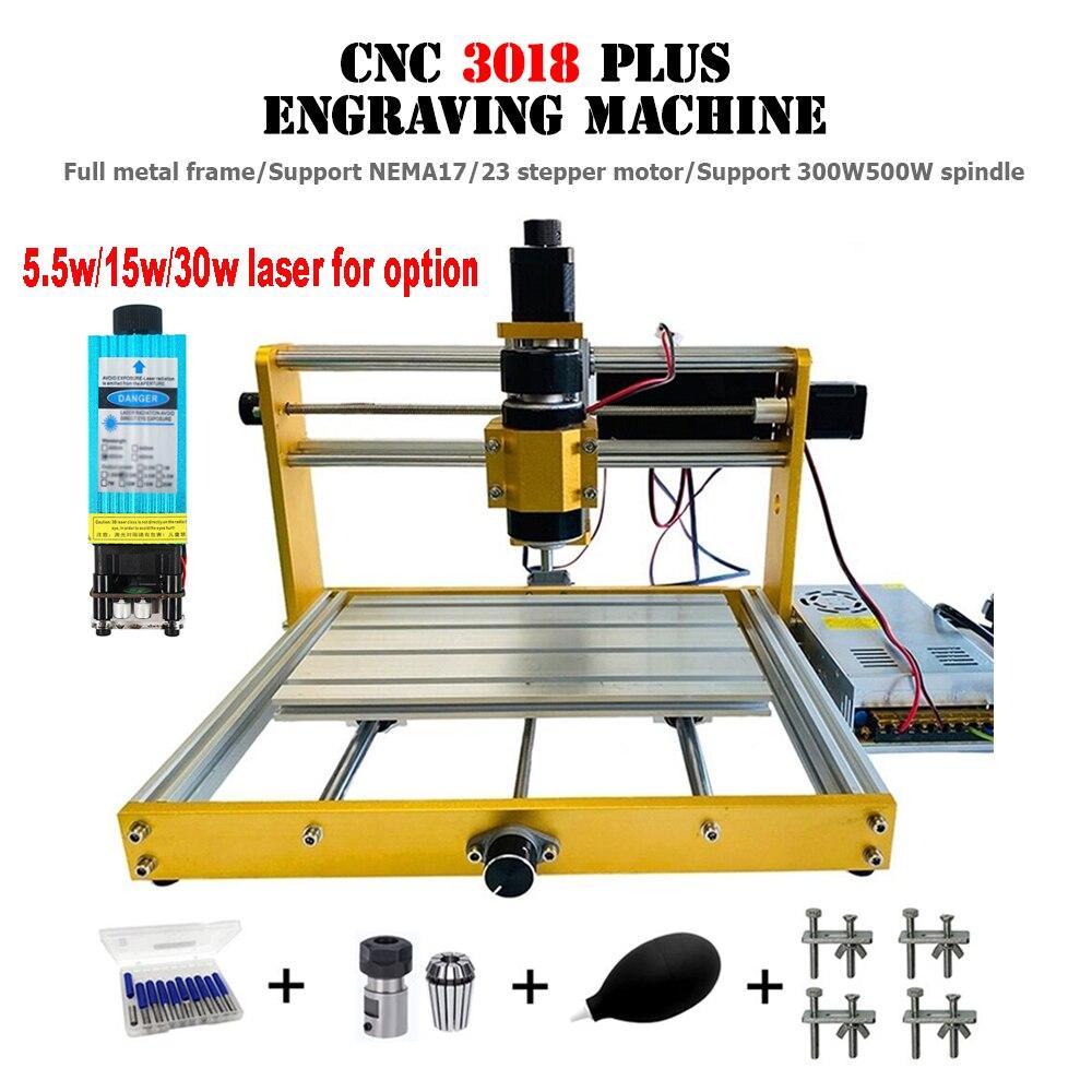 ترقية CNC 3018 آلة النقش بالليزر ، 3018 Plus 300W 500W المغزل GRBL التحكم PCB آلة طحن للمعادن