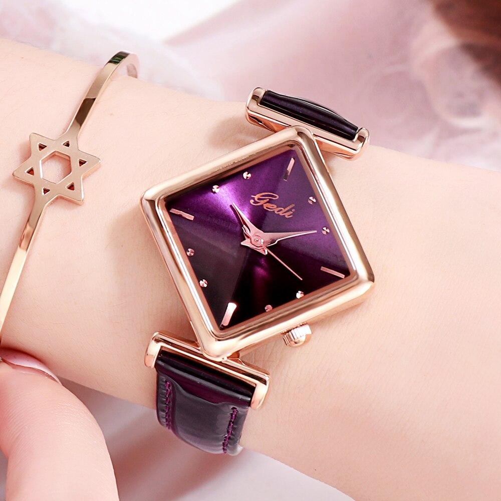 Luxury Brand Women's Watches Waterproof Fashion Square Leather Female Quartz Wristwatch GEDI Casual