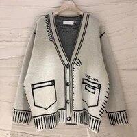 winter korean fashion cardigan casual loose knit sweater women chic print v neck long sleeve sueter coat streetwear pull femme