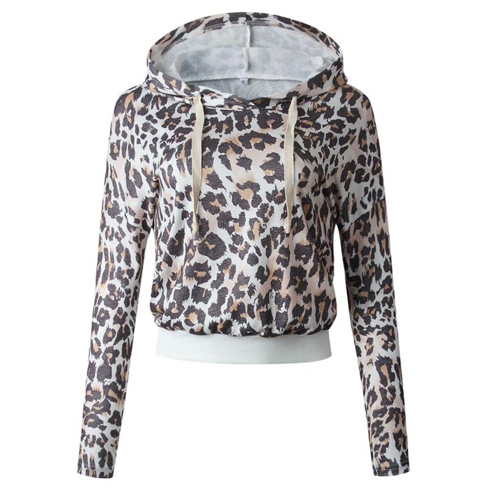 Leopard Hooded Short Long Sleeve Tops Women Autumn Winter Morning Runway Long Sleeve Sexy Leopard Print Short Hooded Sweatshirt
