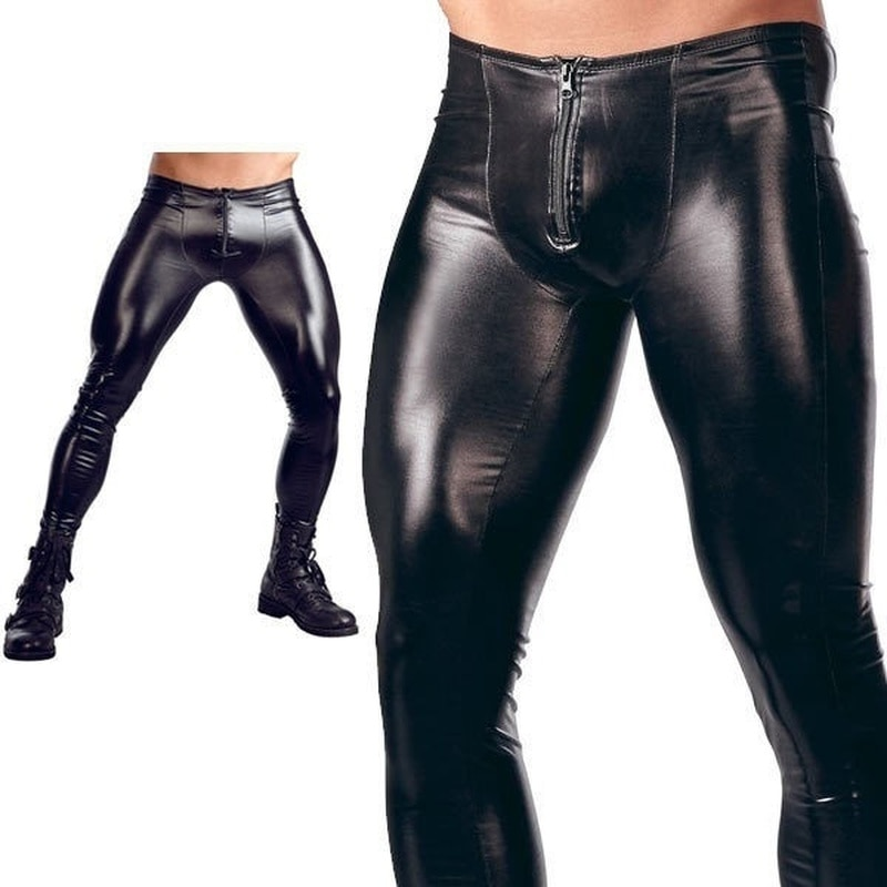 ZOGAA  Hot Sale  Men Front Zipper Patent Leather Tights Nightclub Bar Performance DJ Stage Pants for Men