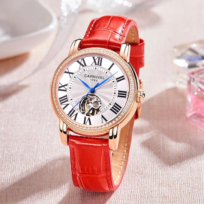 CARNIVAL Brand Women Fashion Silver Rose Gold Watches Ladies Waterproof Luxury Hollow Casual Quartz Wristwatch Relogio Feminino enlarge