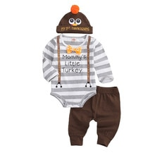 Herbst Neugeborenen Baby Mädchen Jungen Thanksgiving Outfits Striped Print Lange Hülsenspielanzug Tops + Lange Hosen + Hüte 3PCs kleidung Set