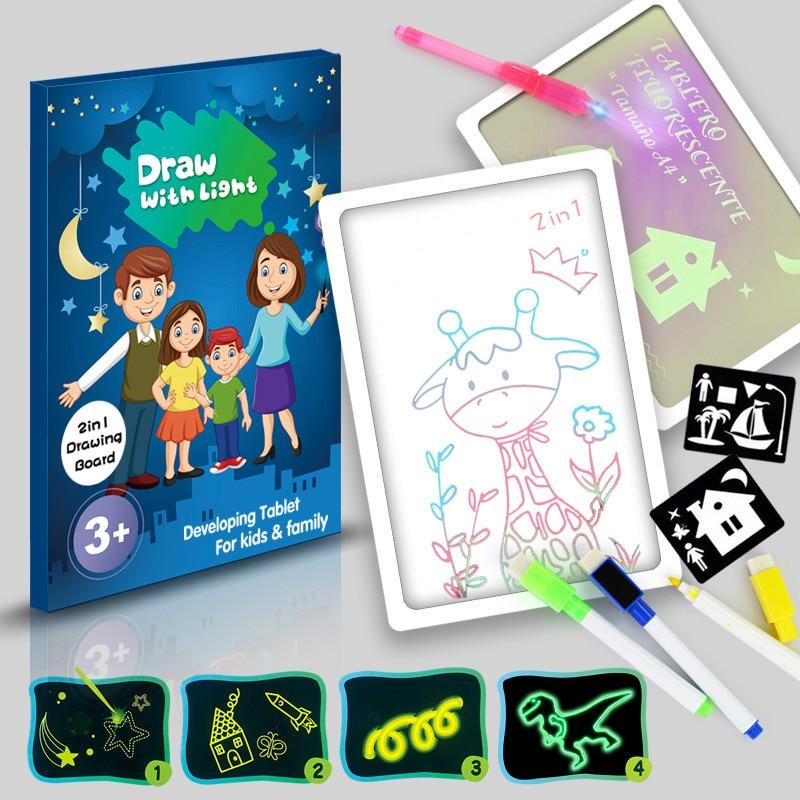 Luz de desenho da lâmpada placa de pintura das crianças escuras brinquedos diy quebra-cabeça desenhar com escrita livro brinquedos & hobbies