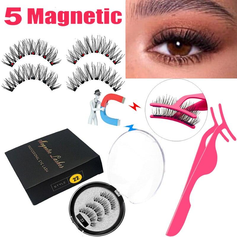 Lekofo 2020 cílios magnéticos lote com 5 ímã vison cílios reutilizáveis 3d falso olho cílios maquiagem falso cils magnetique pinças