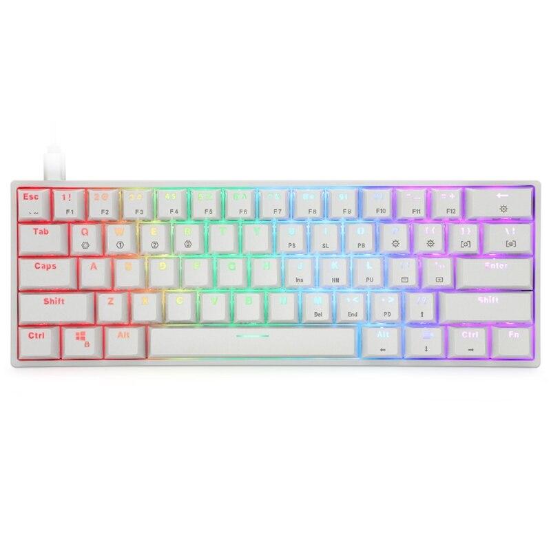لوحة مفاتيح ميكانيكية محمولة SK61 60% ، مفاتيح بصرية Gateron ، قابلة للتبديل السريع ، بإضاءة خلفية ، 77HA