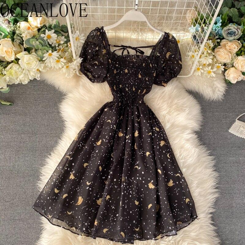 OCEANLOVE imprimir negro Parry vestido mujeres A-line alta cintura Midi Vestidos 2020 Puff manga Vestidos Primavera Verano Ropa Mujer 13659