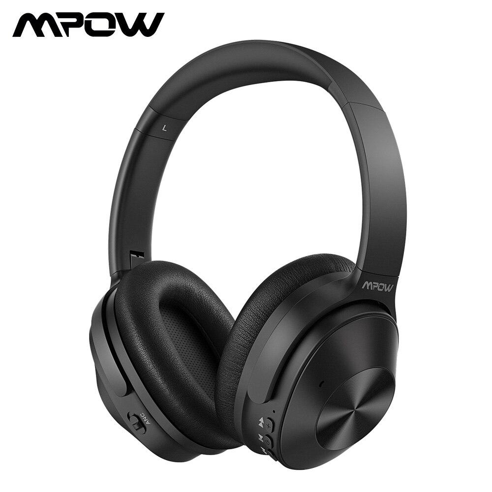 Auriculares con cancelación activa de ruido Mpow H12, Auriculares Bluetooth inalámbricos/con cable, 30h, tiempo de reproducción, micrófono integrado para iPhone 11 Samsung
