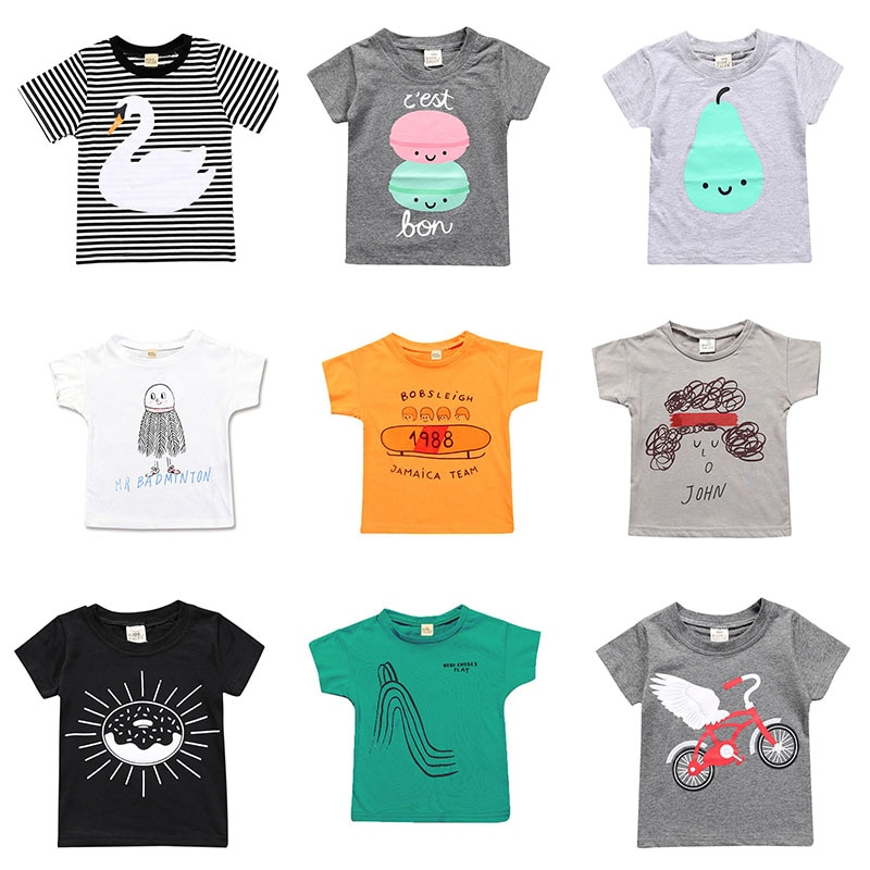 Boys T-shirt Summer Children Tops Clothing Cotton Cute Print Short Sleeve T Shirts Kids White Girls Tee Toddler 1-7years Baby