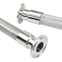 1 5 2 tri clamp x 1925323845mm pipe od 304 stainless steel braided soft tube bellow for homebrew 500 700 1000 1500 2000mm