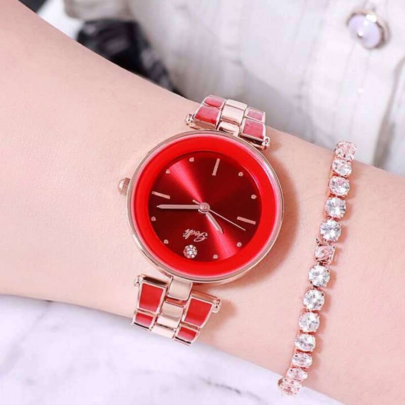 Luxury Elegant Multi-color Stainless Steel Belt Women's Watch Quartz Waterproof Girl Wristwatches Relogio Gift Female Watches enlarge