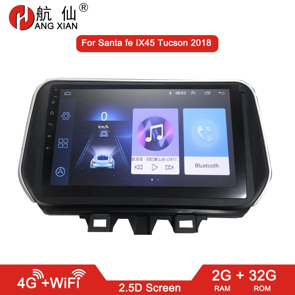 Cuelgue XIAN 2 din radio de coche para Hyundai Santa fe Tucson IX45 2018 reproductor de dvd del coche accesorio de autorradio 4G internet 2G 32G