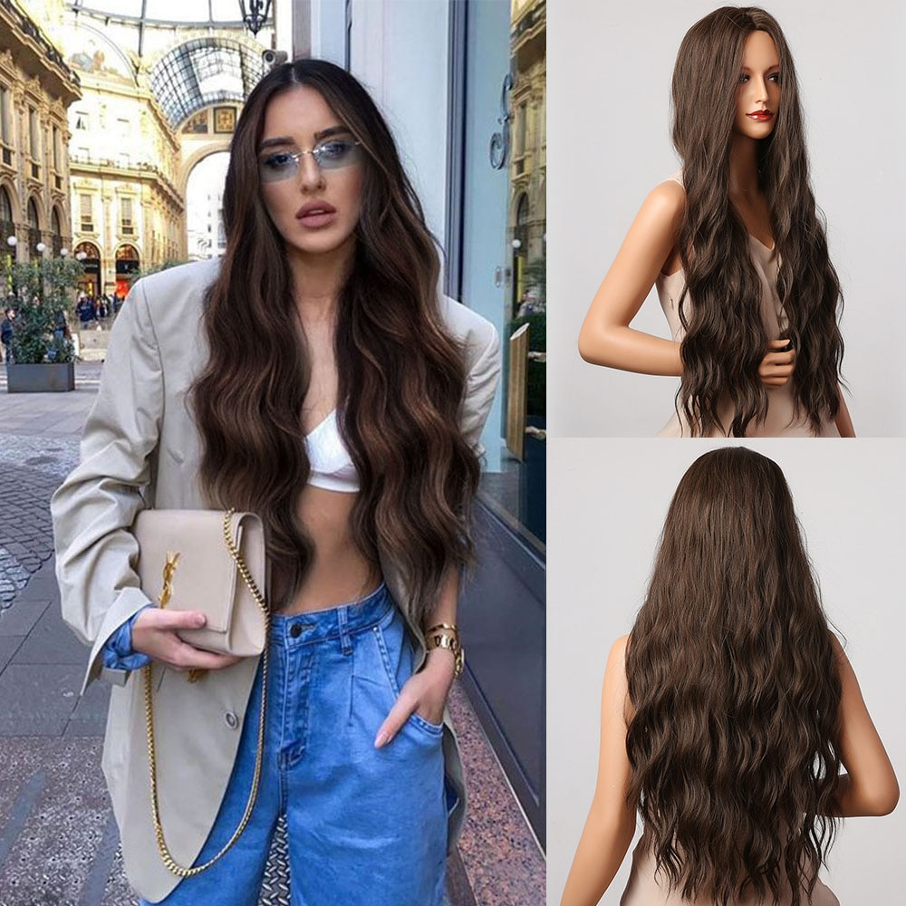 HENRY MARGU Long Brown Water Wave Synthetic Wigs Natural Wavy High Temperature Hair Wigs For Women Afro Daily Party Cosplay Wigs
