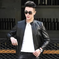 genuine leather clothes mens first layer goat skin autumn slim fitting biker jacket single coat tide