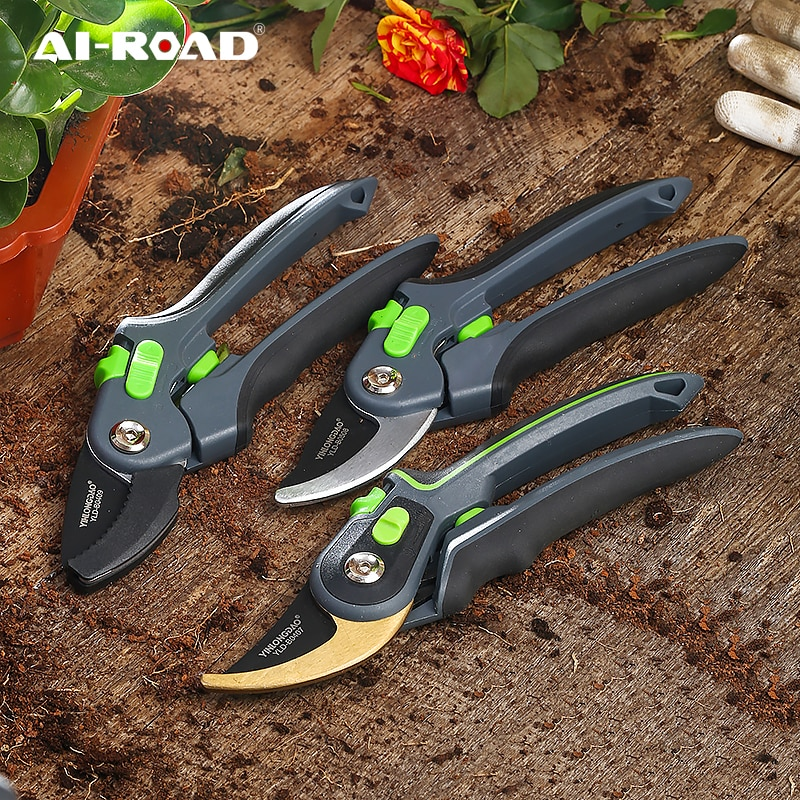 Sécateur de jardinage à garniture végétale, pouvant couper des branches de 35 mm de diamètre, des arbres fruitiers, des fleurs et des branches