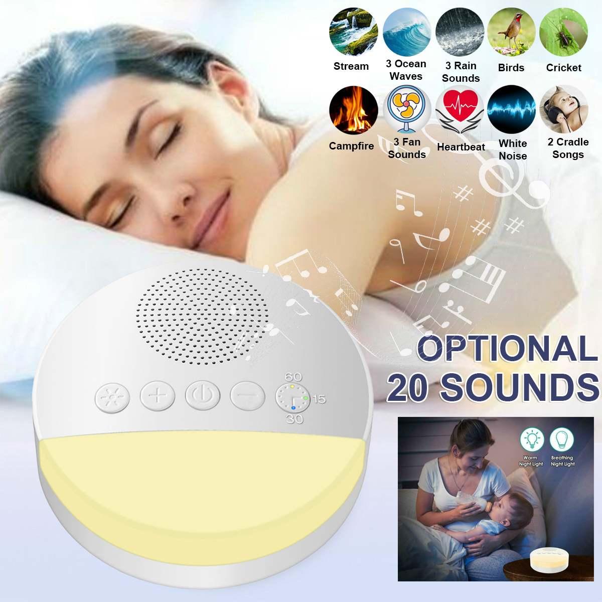 Máquina portátil de ruido blanco, dispositivo de terapia de ayuda para dormir con apagado temporizador recargable por USB para bebés y adultos, para dormir y relajarse