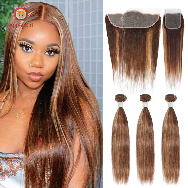 Highlight 3 Bundles With Closure Brazilian Human Hair Weave Bundles With Frontal Colored Applegirl S