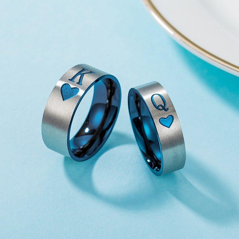 Голубое кольцо для пары, женские свадебные игральные карты из нержавеющей стали, кольцо K Q, простые подарки для женщин, мужские аксессуары, о...