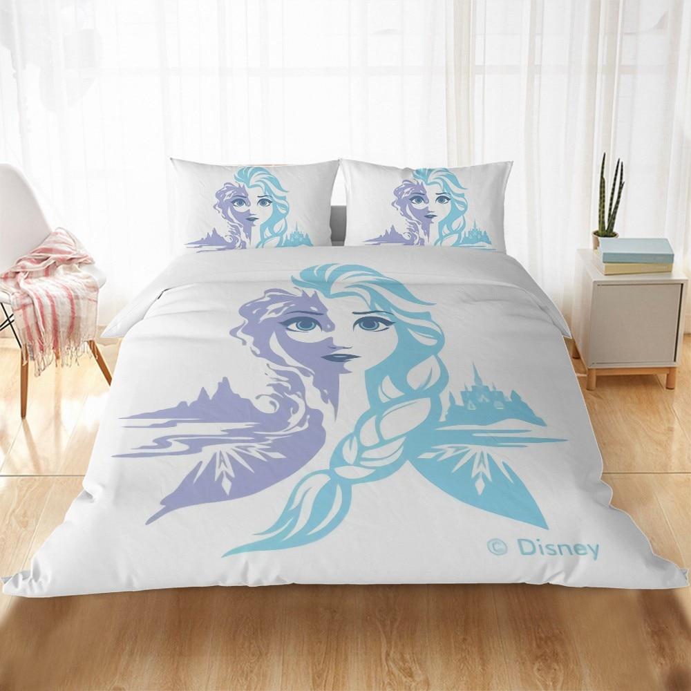 Purple Princess Frozen 3 Elsa Anna Bedding Set Single King Home Textiles Duvet Cover Pillowcase Children Adult Girls Gift