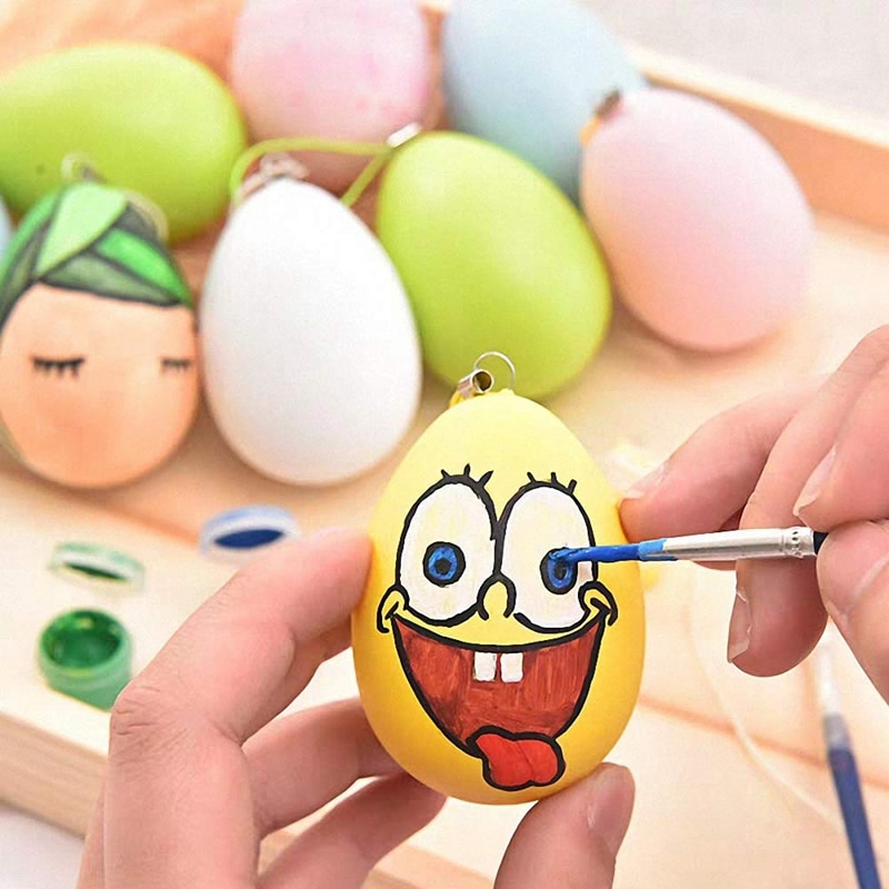Easter Decorations 24Pcs Plastic Easter Eggs Hanging Ornament Set Blank White Eggs for Kids DIY Painting Crafts