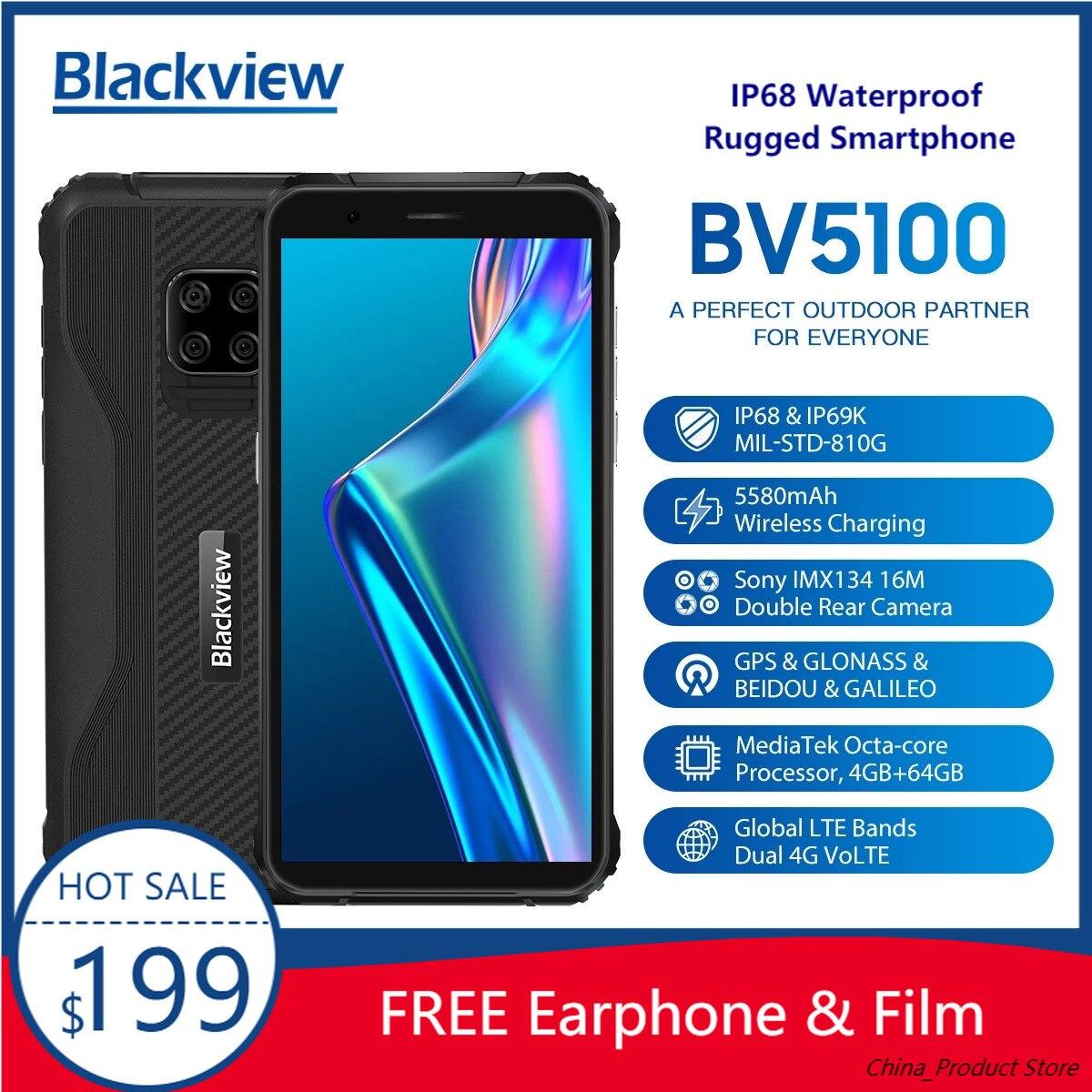 Перейти на Алиэкспресс и купить Смартфон Blackview BV5100 защищенный, IP68, 5,7 дюйма, Android 10, Helio P22, 8 ядер, 4 + 64 ГБ, NFC, 5580 мА · ч
