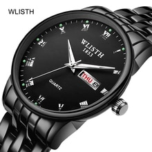 Retro Black Watches, Lovers Wrist Watch for Women Men Analog Date With Stainless Steel, Quartz Impor