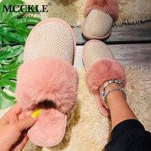 MCCKLE zimowe futrzane kapcie damskie wystrój ze strasu puszyste kapcie ciepłe pantofle kryształowe miękkie damskie buty kobieta kobiece buty