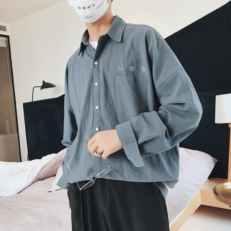 Mens Korean Fashions Shirts long sleeve 2020 Mens Harajuku White Embroidery Cotton Shirts Male button up shirt Shirt
