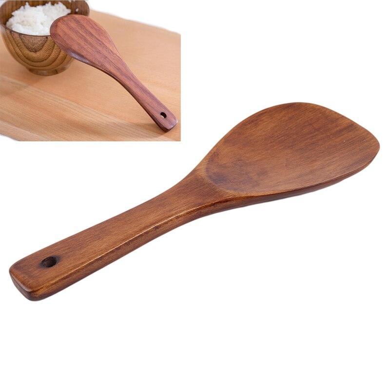 Espátula giratoria para cocina, cuchara para arroz, volteador de madera largo, pala para tortitas, cuchara para servir, utensilios de cocina de tamaño 21*7cm