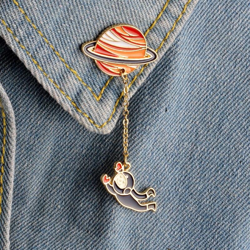 Rinhoo colección de Pins esmalte Pin de Planeta, astronauta estrella broche de solapa regalo de insignia para niños de joyas de niña