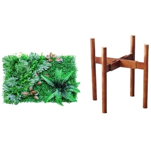 1 Pcs Artificial Green Plant Mats Hedges,Greenery Wall Backdrop & 1 Pcs 8 To 12 Inch Bamboo Wood Flower Stand