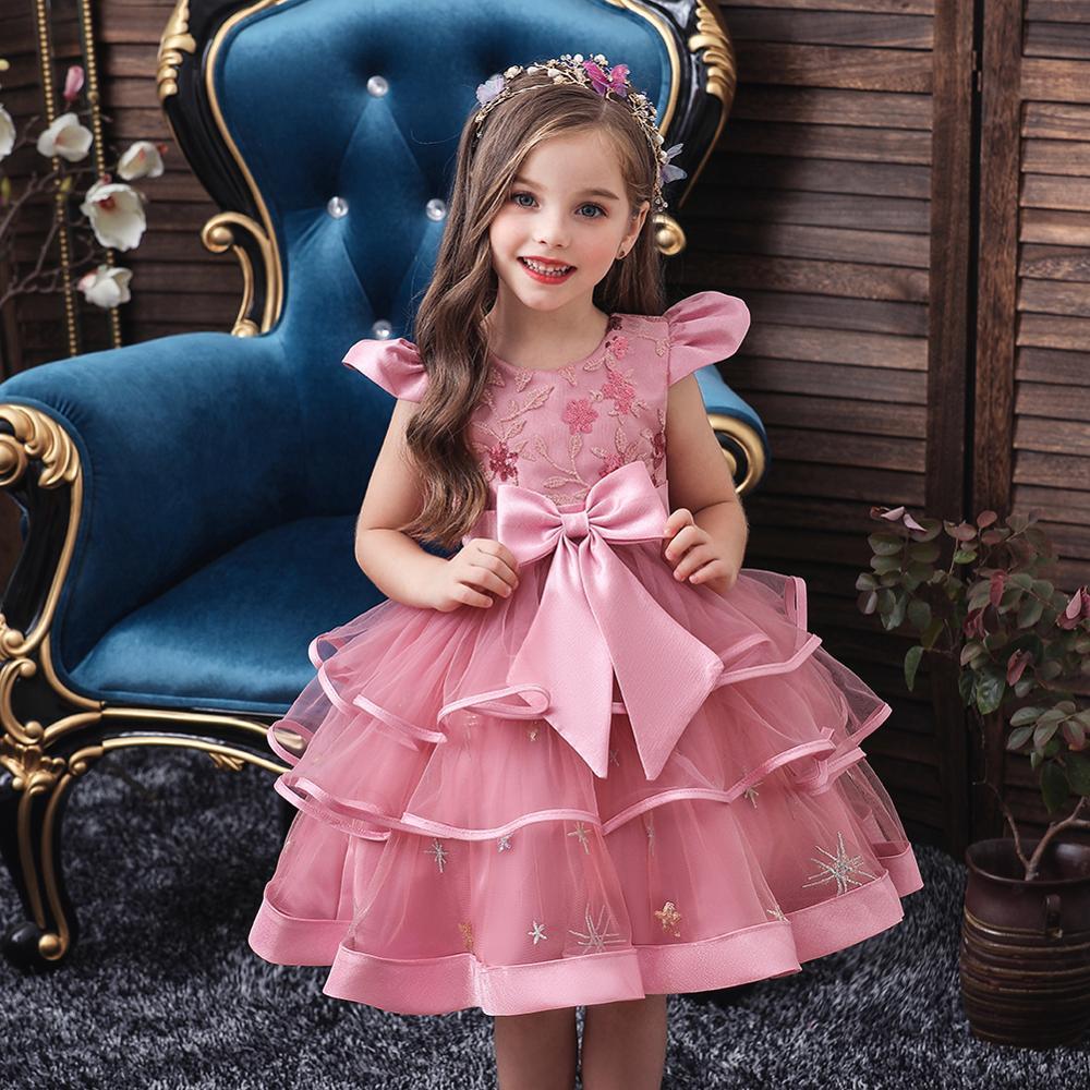 Kids Girl Cake Tutu Flower Dress Children Party Wedding Formal Dress for Girl Princess First Communion Costume New Arrival 2020