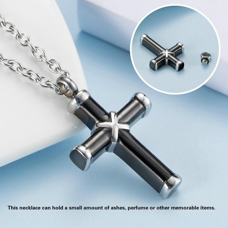 WAWFROK ожерелье унисекс из нержавеющей стали черный цвет может держать пепел урн крест ожерелье винт медальон кремации ювелирные изделия оже...