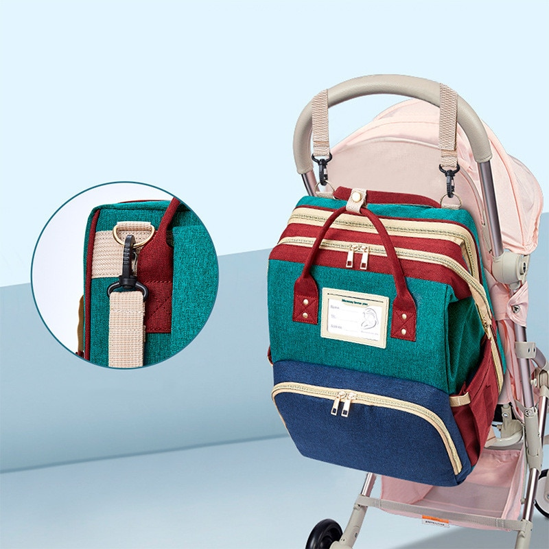 Crib Diaper Bags Mummy Bag High capacity Waterproof Fabric Nappy Backpack Changing Pad Hooks For Maternity Stitching Color