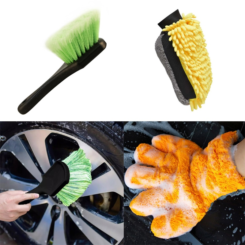 1 pcs 16 inch flexible blue car wash brush long microfiber noodle chenille alloy wheel cleaner Car Cleaning Tools Wheel Rims Tire Wash Brush Car Wash Sponges Tools Microfiber Chenille Gloves Vehicle Auto Care Accessories