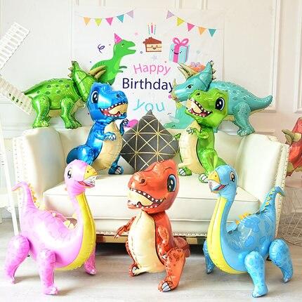 1pc gran 4D de dinosaurio, globos de papel de aluminio chicos globos de animales los niños fiesta de cumpleaños de dinosaurio Jurásico mundo globo de decoración