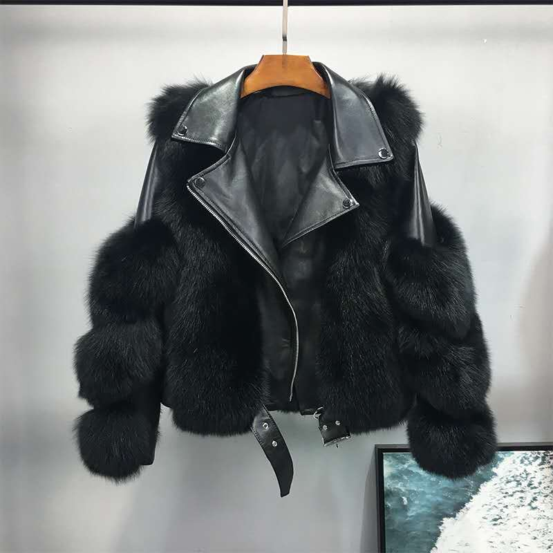 Women's 2020 New Imitation Fox Fur Coat Female Young Short Zipper Pocket Street Mujer Outwear Ladies Long Sleeve Fashion B11
