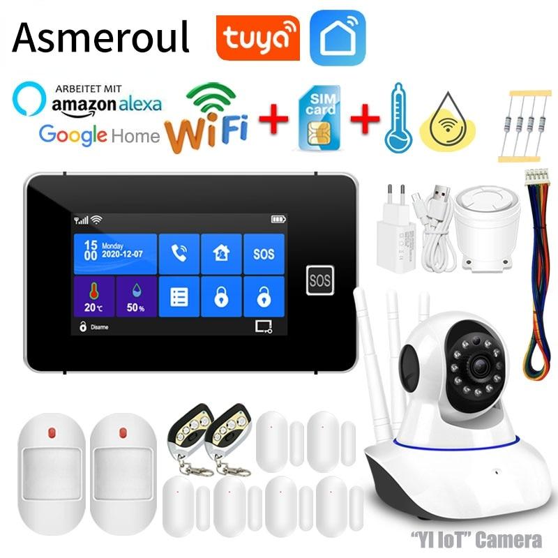 Tuya WiFi GSM Alarm System Anti Theft Alarm Smart Home Burglar Alarma Personal Touch Screen Motion Detector Smoke Door Sensor