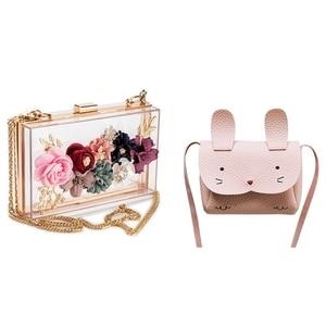 Mini Shoulder Bag Children Messenger Bag (Pink) & Women PVC+ Fabric Flower Clutches Crossbody Floral Purse