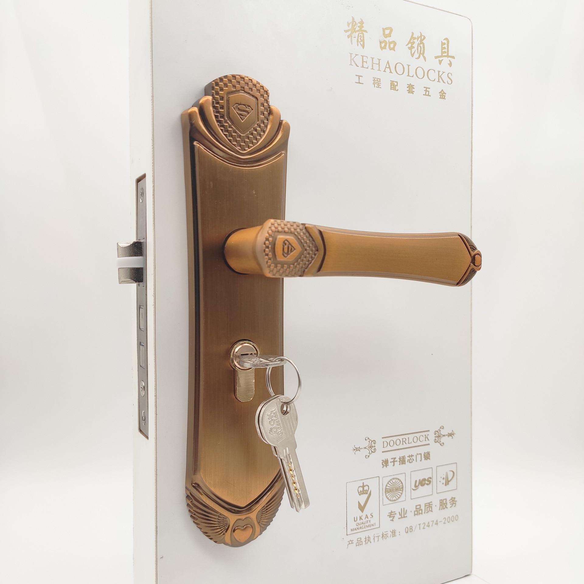 غرفة نوم أوروبية قفل الباب داخلي باب من الخشب الصلب غرفة مقبض أقفال المنزل مقبض الباب