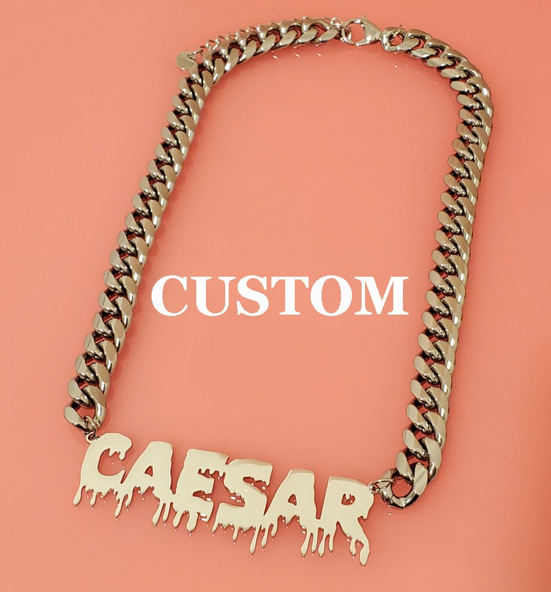 Customized Fashion Stainless Steel Name Necklace with Cuban Chain Choker Pendant Nameplate Gift