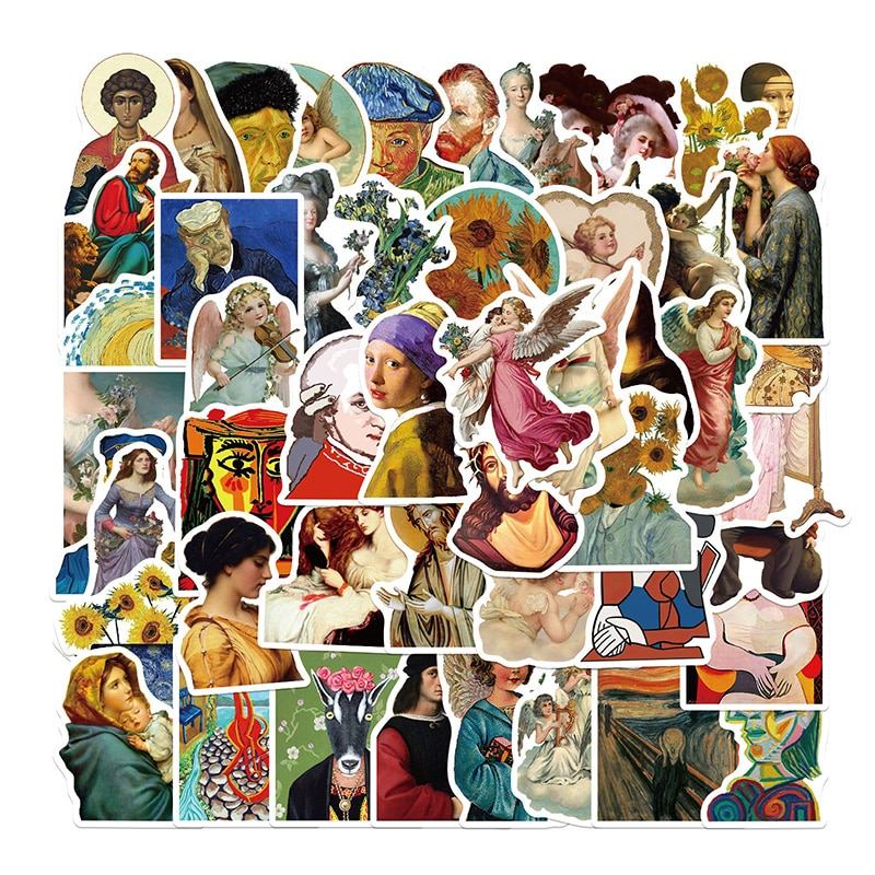 50Pcs Famous Artists Oil Painting Stickers For DIY Scrapbooking Graffiti Diary Luggage Decals Label Stationery Decor Sticker