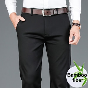 Autumn New Men's Bamboo Fiber Casual Pants Classic Style Business Fashion Khaki Stretch Cotton Trousers Male Brand Clothes