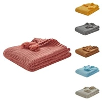 baby knitted blankets with tassel newborn stroller swaddling wrap kids travel bedding stuff for adult toddlers