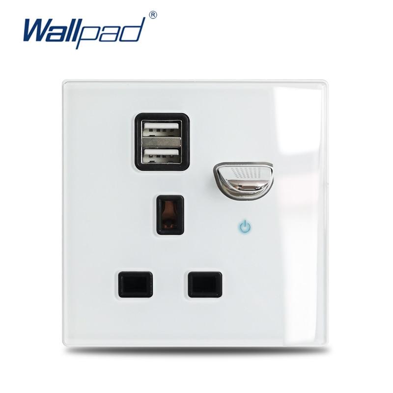 Wallpad L6-مقبس حائط زجاجي أبيض 13A BS UK ، مقبس شحن USB مزدوج ، مؤشر LED أزرق