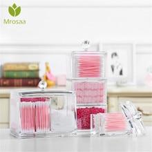 2020New Acryl Make-Up Organizer Baumwolle Tupfer Lagerung Box Kosmetik Organizer Baumwolle Pads Qtip Make-Up Klar Container Fall Sarg