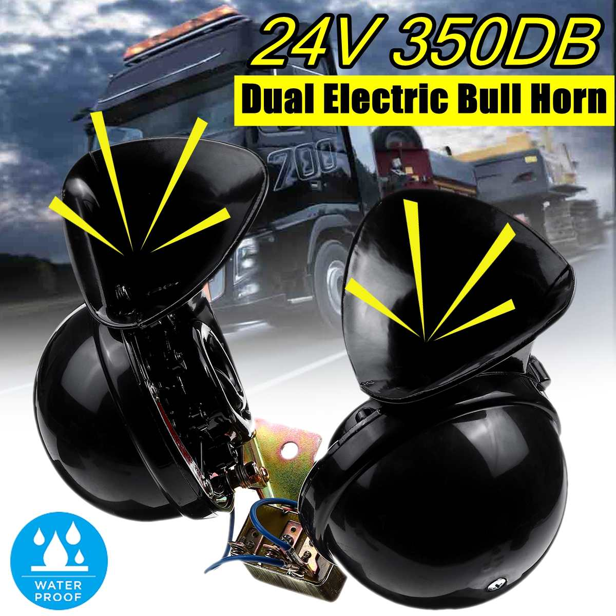Universal 12V 24V DC impermeable Caracol aire motocicleta cuerno extremo fuerte 350dB para camión moto barco coches accesorios 2 uds