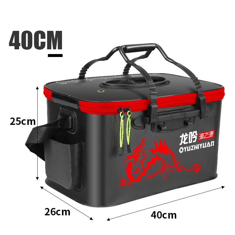 Handle Folding Fishing Bucket EVA Fishbox Outdoor Water Box Packing Live Fish Bucket Thickened Fishing Tank Fishing Gear Bag enlarge